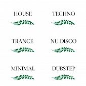stock photo of nu  - Laurel seals with electronic music genres 3 - JPG