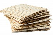 stock photo of flat-bread  - Jewish passover matzo flat bread on white background - JPG