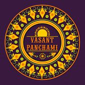 stock photo of rangoli  - Beautiful floral decorated rangoli for Happy Vasant Panchami celebration - JPG