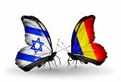 pic of chad  - Two butterflies with flags on wings as symbol of relations Israel and Chad Romania - JPG