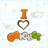 stock photo of cricket  - Cricket sports concept with colorful text I Love Cricket and heart on sky blue background - JPG