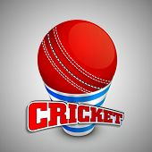 foto of cricket ball  - Red cricket ball on a shiny disposable glass with text Cricket on grey background - JPG