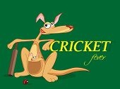 image of cricket bat  - Cartoon of kangaroo and its baby with bat and ball on green background for Cricket Fever - JPG