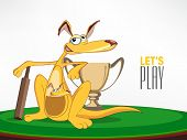 picture of cricket bat  - Cute cartoon of kangaroo and its baby with bat and winning trophy for Cricket - JPG
