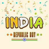 picture of ashoka  - Happy Indian Republic Day celebration greeting card design with national tricolor text India and Ashoka Wheel on colorful ribbons decorated background - JPG