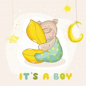 pic of baby bear  - Baby Shower or Arrival Card  - JPG