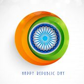 picture of ashoka  - Stylish sticker in national flag color with Ashoka Wheel for Indian Republic Day celebration - JPG
