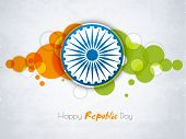 stock photo of ashoka  - Happy Indian Republic Day celebration sticker or label with Ashoka Wheel on national flag color abstract background - JPG