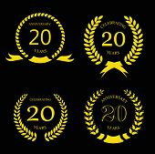 stock photo of laurel  - twenty years anniversary laurel gold wreath  - JPG