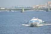 image of hydrofoil  - Meteor hydrofoil boat on the Neva River in the center of St - JPG