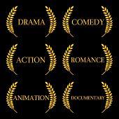 foto of storyboard  - Golden laurels seals with different film genres - JPG