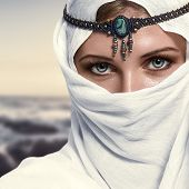pic of arabic woman  - Portrait of young beautiful woman arabic style fashion look - JPG