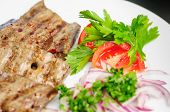 stock photo of liver fry  - fried beef liver with vegetables - JPG