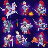 stock photo of armor suit  - Set of noble knights in tricky situations - JPG