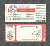 stock photo of boarding pass  - Vintage Boarding Pass Ticket Wedding Invitation Template - JPG