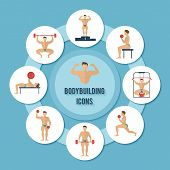 picture of rutin  - Bodybuilding sport and fitness muscle training decorative paper icons set vector illustration - JPG
