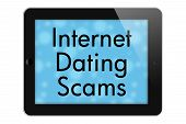 image of hookup  - Internet Dating Scams Tablet with words Internet Dating Scams in Text isolated on a white background - JPG