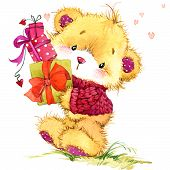 stock photo of congratulations  - cute funny teddy bear and congratulations on Valentine - JPG