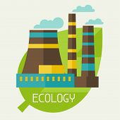 picture of environmental pollution  - Environmental pollution ecology concept illustration in flat style - JPG