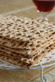 picture of matzah  - Matzah crackers traditionally eaten during the Passover holiday - JPG