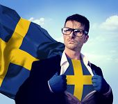 stock photo of sweden flag  - Businessman Superhero Country Sweden Flag Culture Power Concept - JPG