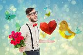 picture of girly  - Geeky hipster offering bunch of roses against girly bird and butterfly design - JPG
