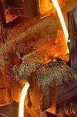 picture of blast-furnace  - Liquid metal from blast furnace - JPG