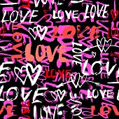 foto of hand kiss  - Grunge vector seamless pattern with hand painted hearts and words love - JPG