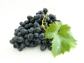pic of wine grapes  - Isolated dewy grape cluster and leaf - JPG
