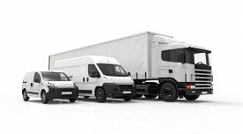 stock photo of trucks  - 3D rendering of a truck a van and a lorry isolated on a white background - JPG