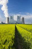 foto of track field  - A shiny new lignite power station behind a rye field with wheel tracks leading to it - JPG