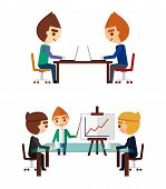 stock photo of negotiating  - Business negotiations set - JPG