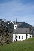 stock photo of chapels  - Chapel in front of the castle Kaprun at the Pinzgau Austria - JPG