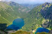 pic of blue ridge mountains  - Two blue mountain lakes surrounded by high summits - JPG