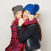 picture of swag  - Fashion portrait of two stylish sexy hipster girls best friends - JPG