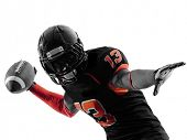 picture of offensive  - one american football player quarterback passing portrait in silhouette shadow on white background - JPG