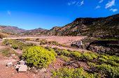 picture of dam  - Artificial Lake Water Dam in the Canary Islands Gran Canaria - JPG