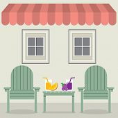 stock photo of awning  - Chairs Set With Fruit Juice Under Awning And Windows Vector Illustration - JPG