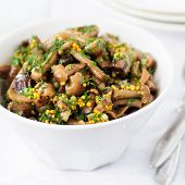 stock photo of mustard seeds  - Marinated Wild Mushroom  - JPG