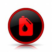 stock photo of oil can  - Oil can icon red and black round Internet button on white background - JPG
