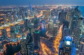 stock photo of marina  - A skyline panoramic view of Dubai Marina showing the Marina and Jumeirah Beach Residence - JPG
