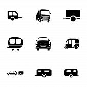 foto of trailer park  - Vector trailer icon set on white background - JPG