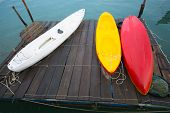 pic of raft  - Kayaks on the wooden raft It was taken after raining - JPG