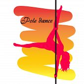 picture of pole dancer  - Pole dancer with long hair on the pole on the yellow  - JPG