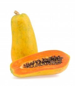 picture of groping  - half papaya isolated on a white background - JPG