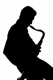 image of saxophone player  - Saxophone player silhouette isolated on white background - JPG