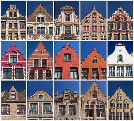image of gable-roof  - Collage of the gable roofs of the historic houses in Bruges  - JPG