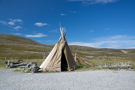 foto of tipi  - Mageroya is a large island in Finnmark county in the extreme northern part of Norway - JPG