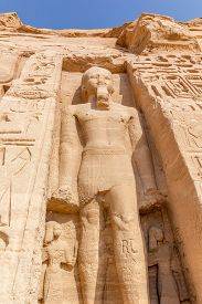stock photo of nefertiti  - a vertical view of a sculpture of Temple of Nefertari Abu Simbel Nubia Egypt - JPG