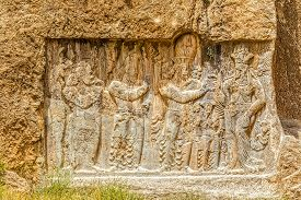 stock photo of zoroastrianism  - Ancient relief of the necropolis Naqsh - JPG